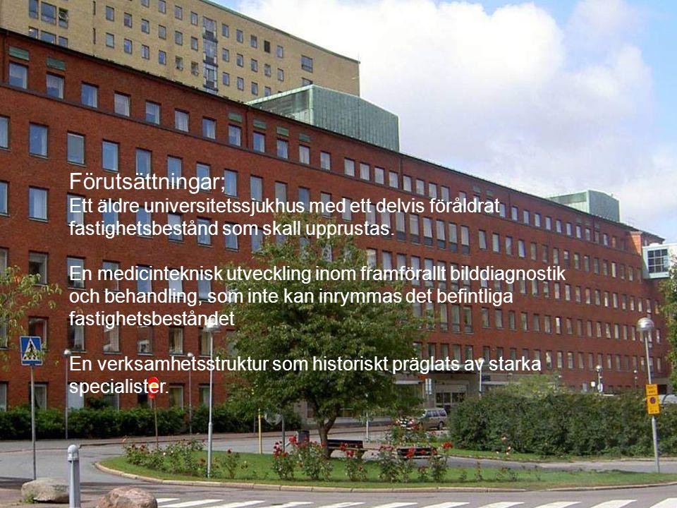 2009.05.13/L.Ring Förutsättningar; Ett äldre universitetssjukhus med ett delvis föråldrat fastighetsbestånd som skall upprustas. En medicinteknisk utv