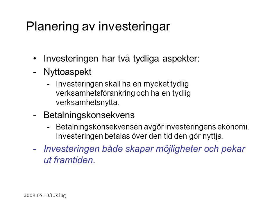 Planering av investeringar Investeringen har två tydliga aspekter: -Nyttoaspekt -Investeringen skall ha en mycket tydlig verksamhetsförankring och ha