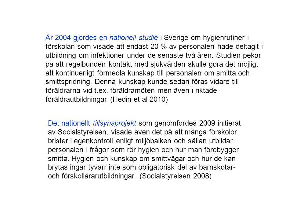 År 2004 gjordes en nationell studie i Sverige om hygienrutiner i förskolan som visade att endast 20 % av personalen hade deltagit i utbildning om infe