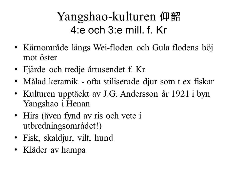 Yangshao-kulturen 仰韶 4:e och 3:e mill. f. Kr Kärnområde längs Wei-floden och Gula flodens böj mot öster Fjärde och tredje årtusendet f. Kr Målad keram