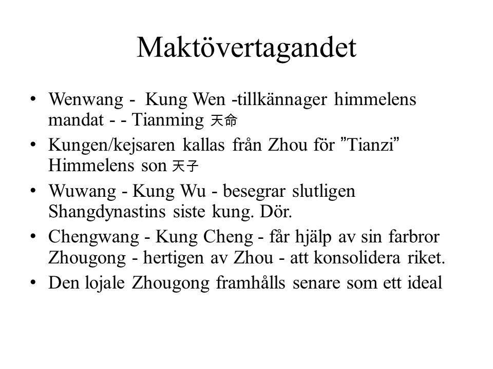 """Maktövertagandet Wenwang - Kung Wen -tillkännager himmelens mandat - - Tianming 天命 Kungen/kejsaren kallas från Zhou för """"Tianzi"""" Himmelens son 天子 Wuwa"""