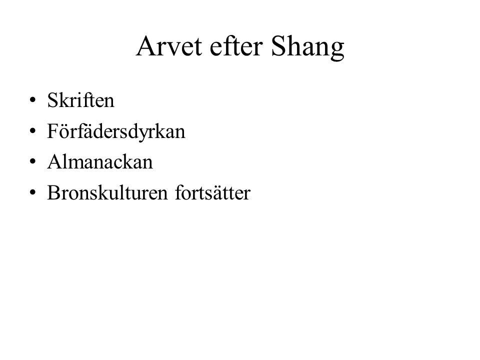 Arvet efter Shang Skriften Förfädersdyrkan Almanackan Bronskulturen fortsätter
