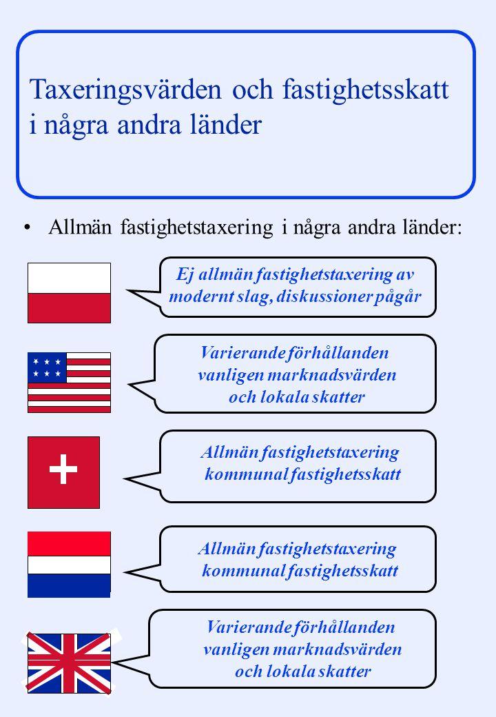 Arne Sundquist/Orsalheden Taxeringsvärden och fastighetsskatt i några andra länder Allmän fastighetstaxering i några andra länder: Varierande förhålla