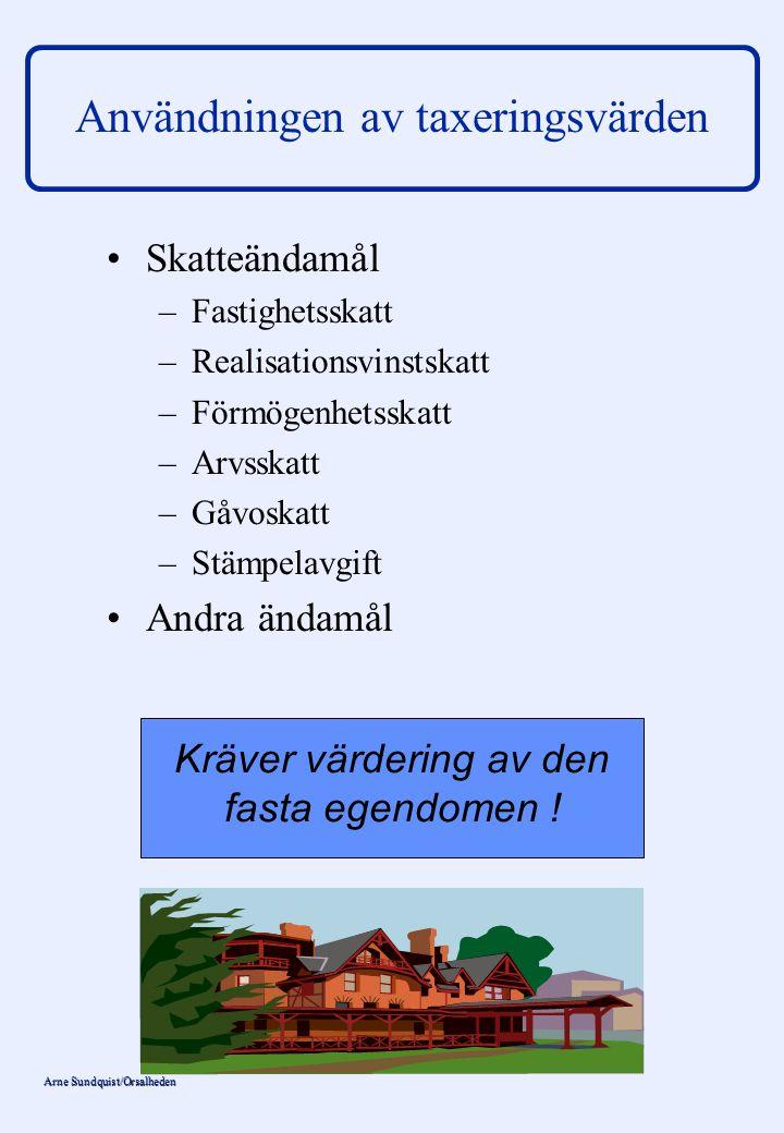 Arne Sundquist/Orsalheden Användningen av taxeringsvärden Taxeringsvärden och taxeringsinfor- mation används för en mängd andra ändamål än beskattning: – –Bankverksamhet (lån, inteckningar) – –Bokföring – –Kommunal planering – –Värdering – –Officiell statistik – –Försäkringsverksamhet – –Marknadsföring Smörjolja i fastighets- marknadsmaskineriet