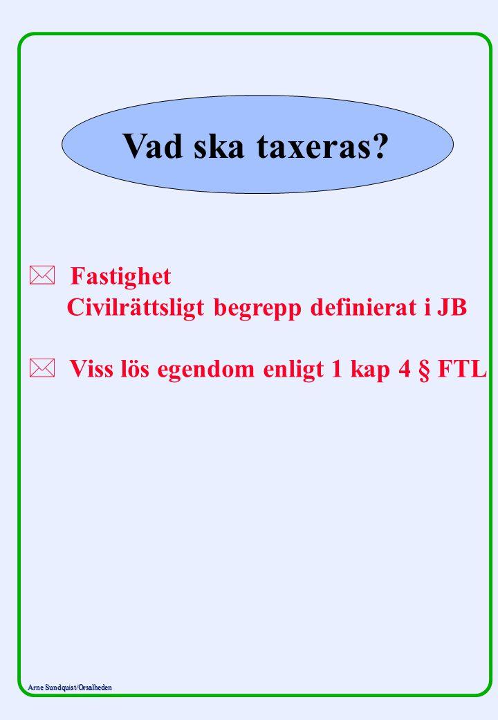 Arne Sundquist/Orsalheden Vad ska taxeras? * * Fastighet Civilrättsligt begrepp definierat i JB * * Viss lös egendom enligt 1 kap 4 § FTL