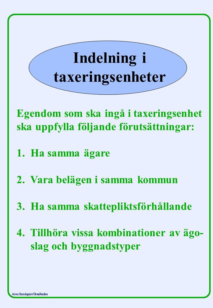 Arne Sundquist/Orsalheden Indelning i taxeringsenheter Egendom som ska ingå i taxeringsenhet ska uppfylla följande förutsättningar: 1. Ha samma ägare