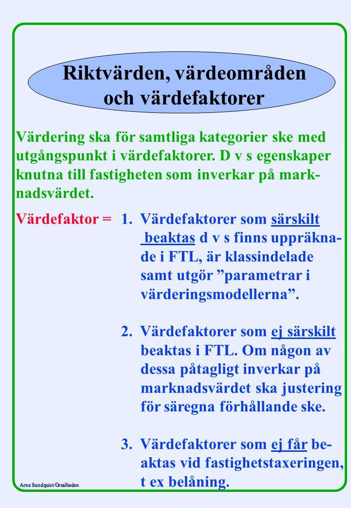 Arne Sundquist/Orsalheden Riktvärden, värdeområden och värdefaktorer Värdering ska för samtliga kategorier ske med utgångspunkt i värdefaktorer. D v s