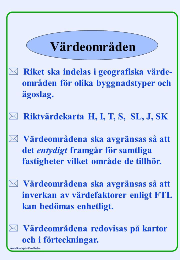 Arne Sundquist/Orsalheden Värdeområden * * Riket ska indelas i geografiska värde- områden för olika byggnadstyper och ägoslag. * * Riktvärdekarta H, I