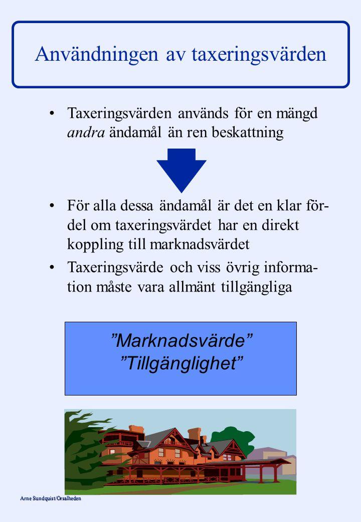 Arne Sundquist/Orsalheden Användningen av taxeringsvärden Taxeringsvärden används för en mängd andra ändamål än ren beskattning För alla dessa ändamål
