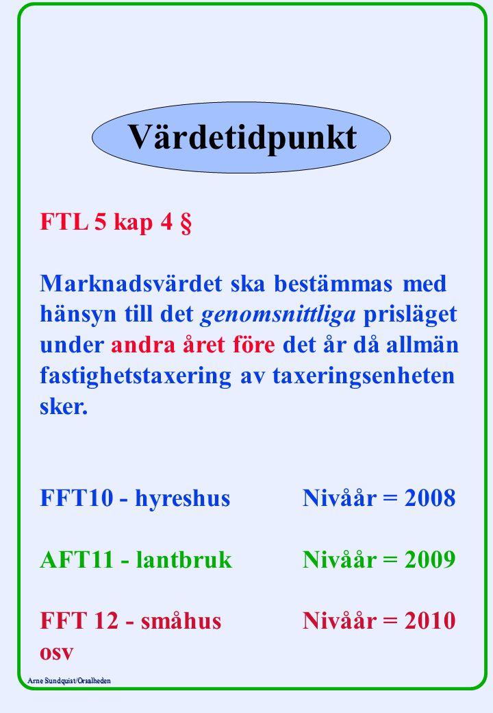 Arne Sundquist/Orsalheden Värdetidpunkt FTL 5 kap 4 § Marknadsvärdet ska bestämmas med hänsyn till det genomsnittliga prisläget under andra året före