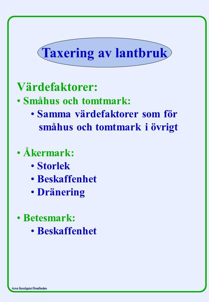 Arne Sundquist/Orsalheden Taxering av lantbruk Värdefaktorer: Småhus och tomtmark: Samma värdefaktorer som för småhus och tomtmark i övrigt Åkermark: