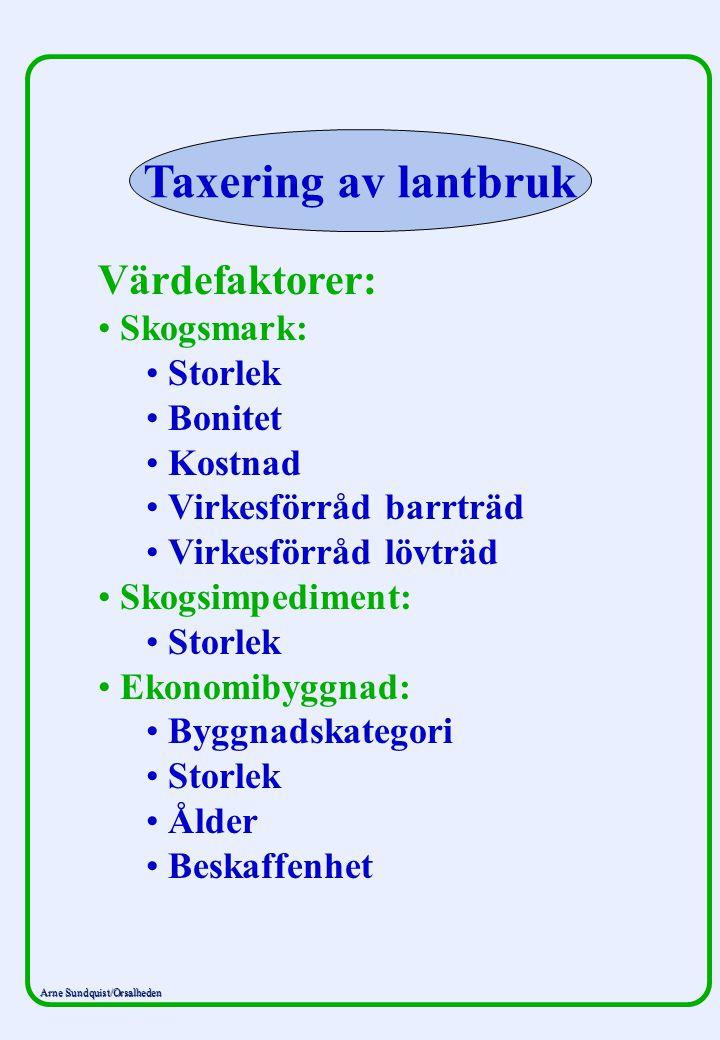 Arne Sundquist/Orsalheden Taxering av lantbruk Värdefaktorer: Skogsmark: Storlek Bonitet Kostnad Virkesförråd barrträd Virkesförråd lövträd Skogsimped
