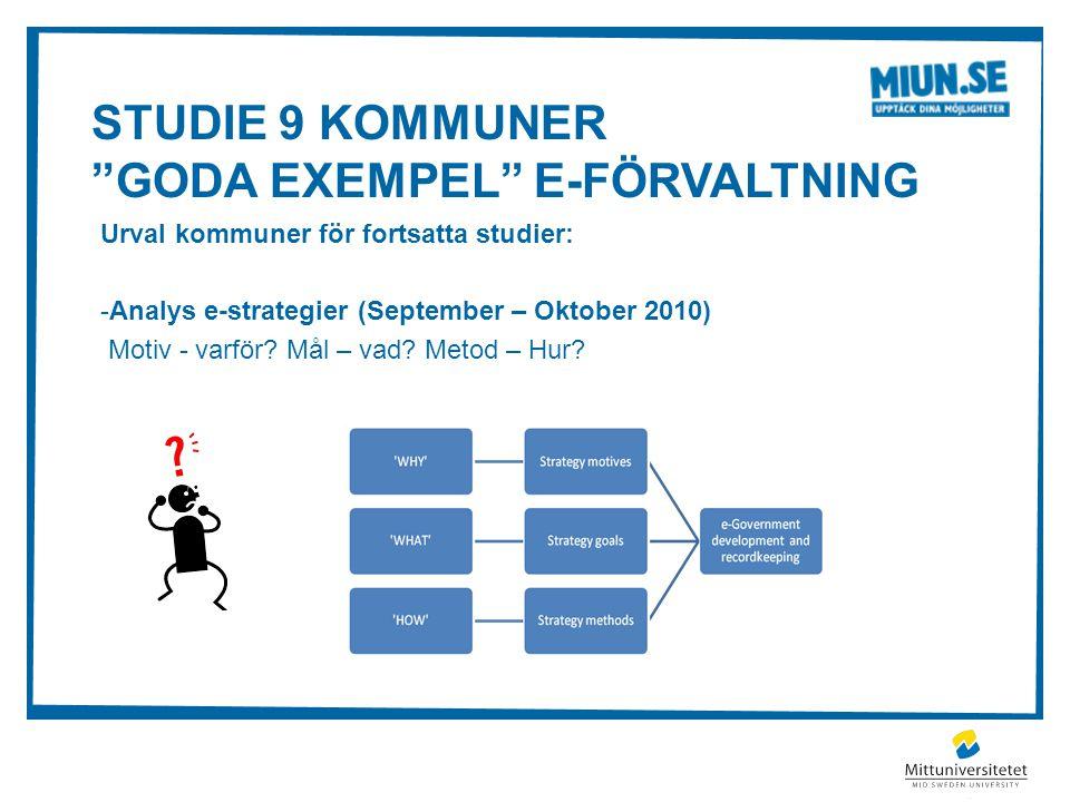 STUDIE 9 KOMMUNER GODA EXEMPEL E-FÖRVALTNING Urval kommuner för fortsatta studier: -Analys e-strategier (September – Oktober 2010) Motiv - varför.