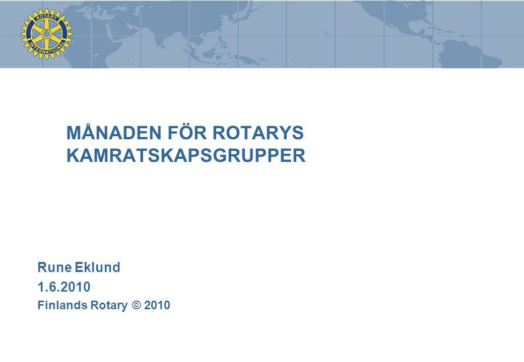 MÅNADEN FÖR ROTARYS KAMRATSKAPSGRUPPER Rune Eklund 1.6.2010 Finlands Rotary © 2010