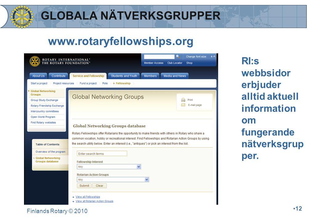 Finlands Rotary © 2010 12 RI:s webbsidor erbjuder alltid aktuell information om fungerande nätverksgrup per. www.rotaryfellowships.org GLOBALA NÄTVERK