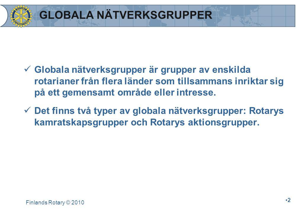 BESTÄMMELSER Alla globala nätverksgrupper berörs av följande villkor: 1.Aktiviteterna bör skötas oberoende av RI, men vara i harmoni med RI:s förordningar samt följa de regler som berör Rotarys märken.