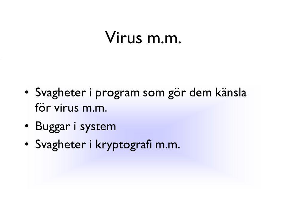 Virus m.m. Svagheter i program som gör dem känsla för virus m.m. Buggar i system Svagheter i kryptografi m.m.