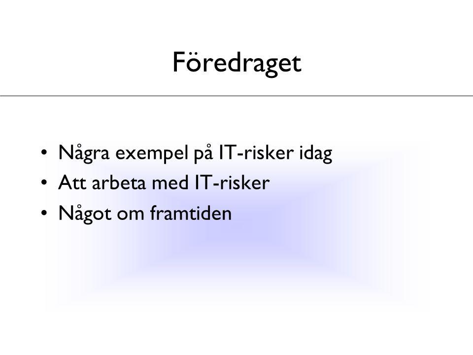 Föredraget Några exempel på IT-risker idag Att arbeta med IT-risker Något om framtiden