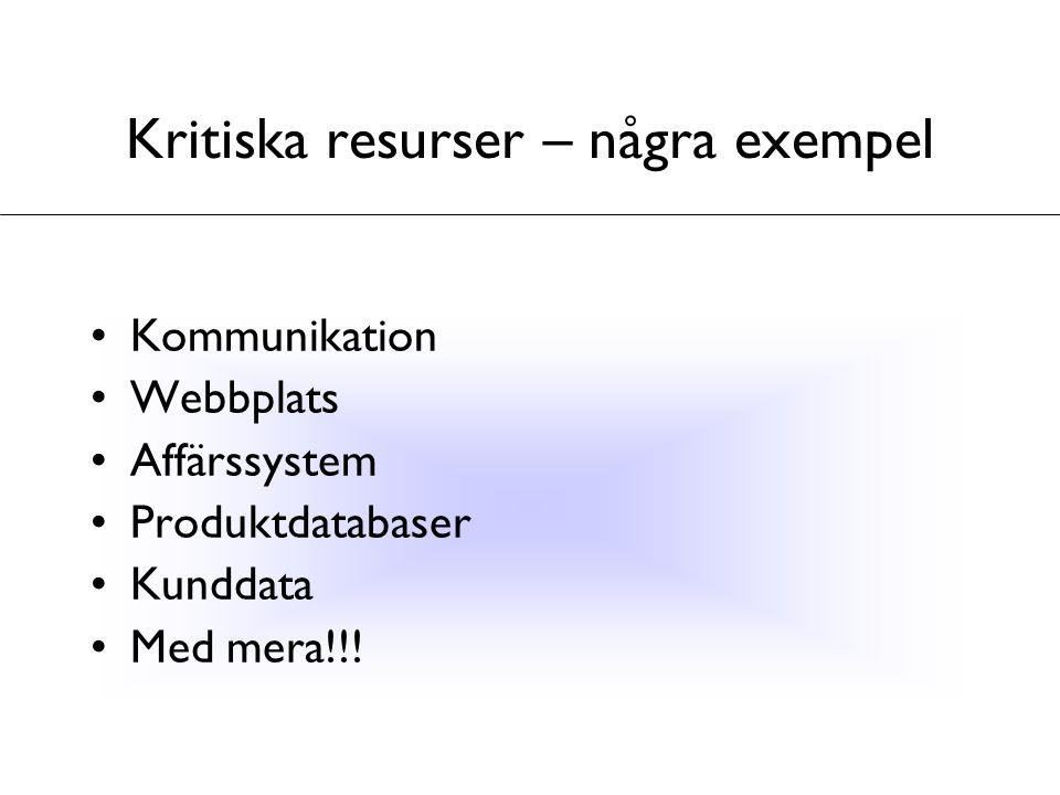 Kritiska resurser – några exempel Kommunikation Webbplats Affärssystem Produktdatabaser Kunddata Med mera!!!