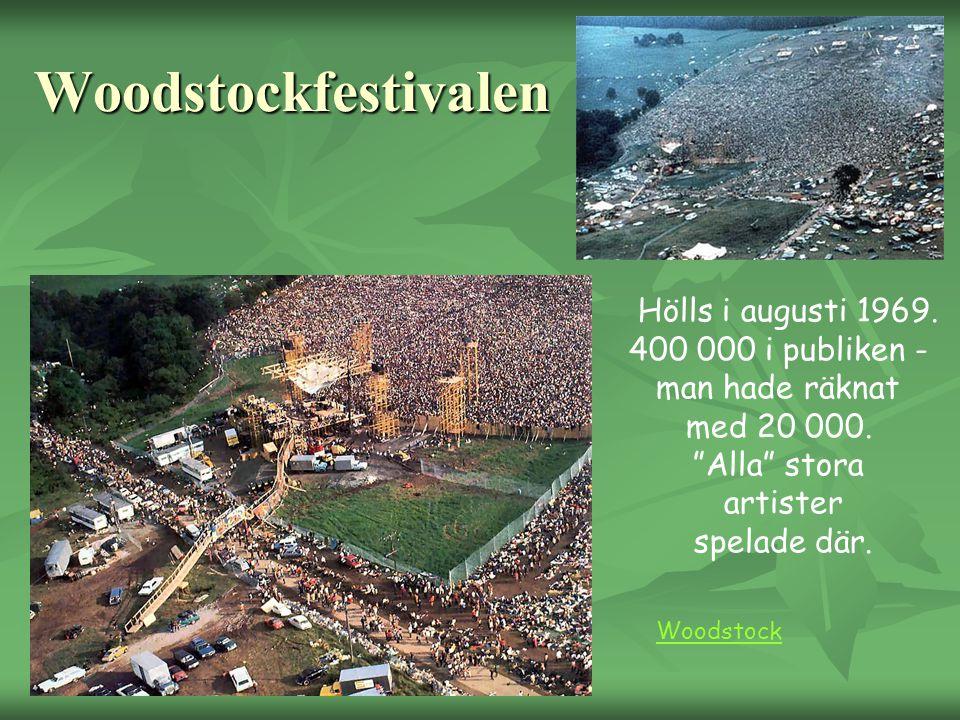 """Woodstockfestivalen Hölls i augusti 1969. 400 000 i publiken - man hade räknat med 20 000. """"Alla"""" stora artister spelade där. Woodstock"""