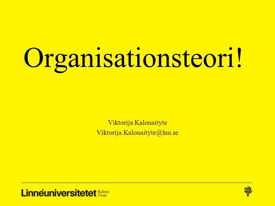 Organisationsteori! Viktorija Kalonaityte Viktorija.Kalonaityte@lnu.se