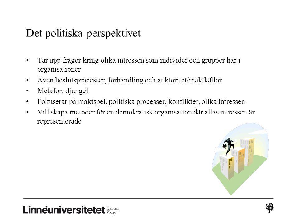 Det politiska perspektivet Tar upp frågor kring olika intressen som individer och grupper har i organisationer Även beslutsprocesser, förhandling och