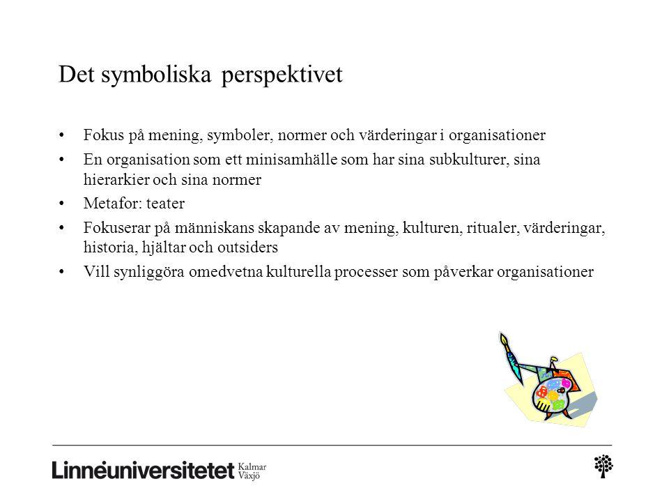 Det symboliska perspektivet Fokus på mening, symboler, normer och värderingar i organisationer En organisation som ett minisamhälle som har sina subku