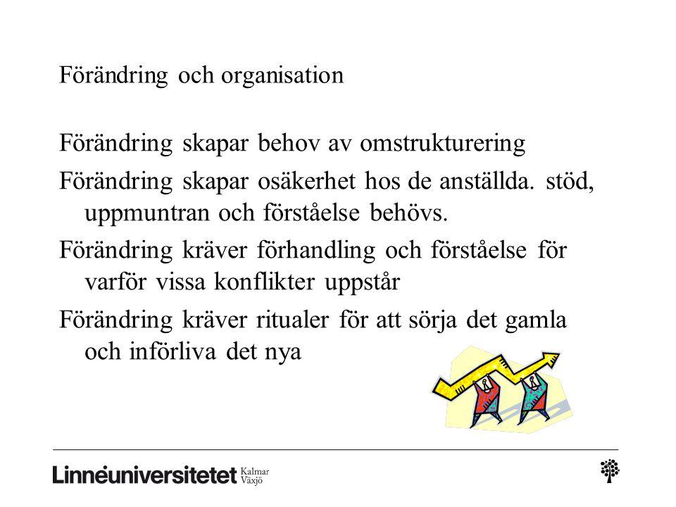 Förändring och organisation Förändring skapar behov av omstrukturering Förändring skapar osäkerhet hos de anställda. stöd, uppmuntran och förståelse b