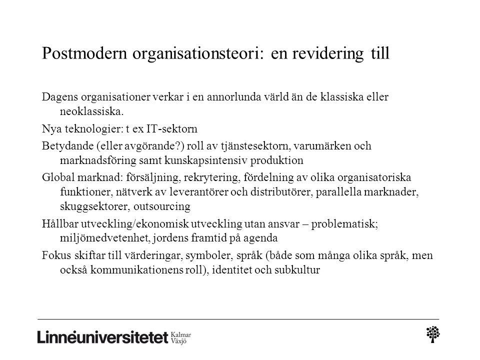 Postmodern organisationsteori: en revidering till Dagens organisationer verkar i en annorlunda värld än de klassiska eller neoklassiska.