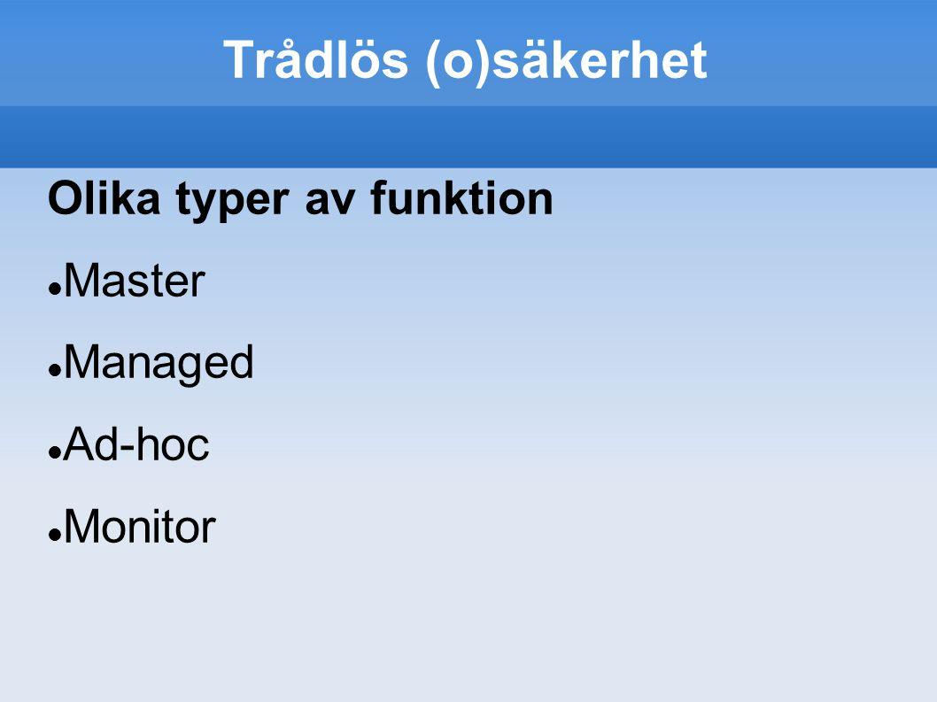 Trådlös (o)säkerhet Olika typer av funktion Master Managed Ad-hoc Monitor