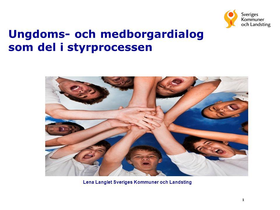 1 Ungdoms- och medborgardialog som del i styrprocessen Lena Langlet Sveriges Kommuner och Landsting