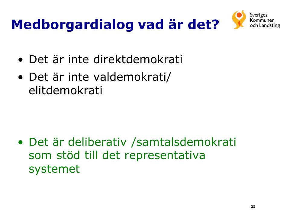 Medborgardialog vad är det? Det är inte direktdemokrati Det är inte valdemokrati/ elitdemokrati Det är deliberativ /samtalsdemokrati som stöd till det