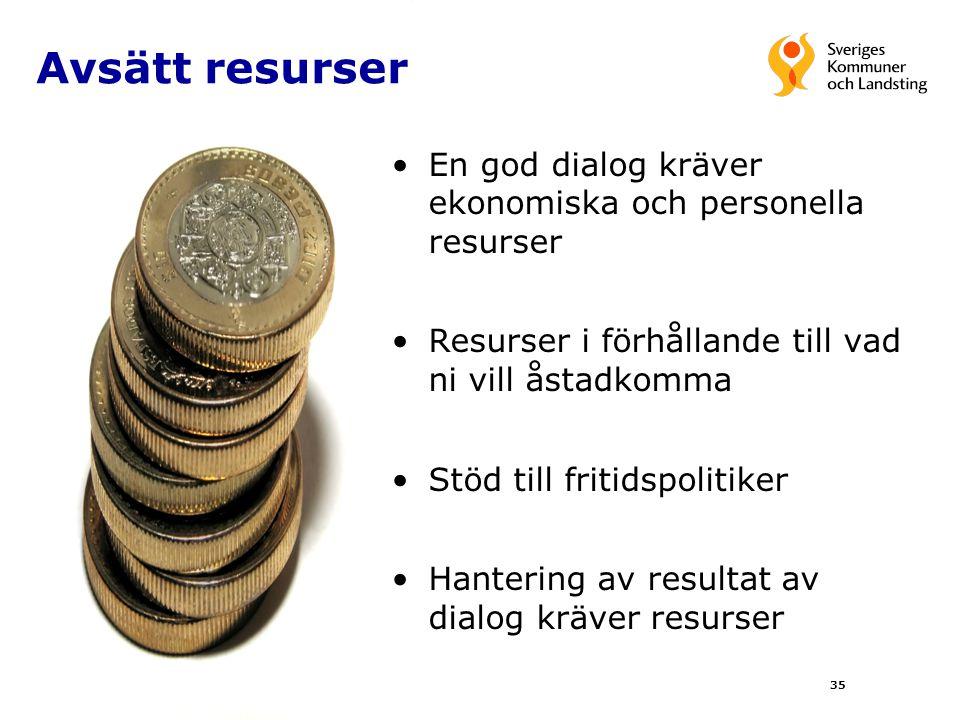 35 Avsätt resurser En god dialog kräver ekonomiska och personella resurser Resurser i förhållande till vad ni vill åstadkomma Stöd till fritidspolitik