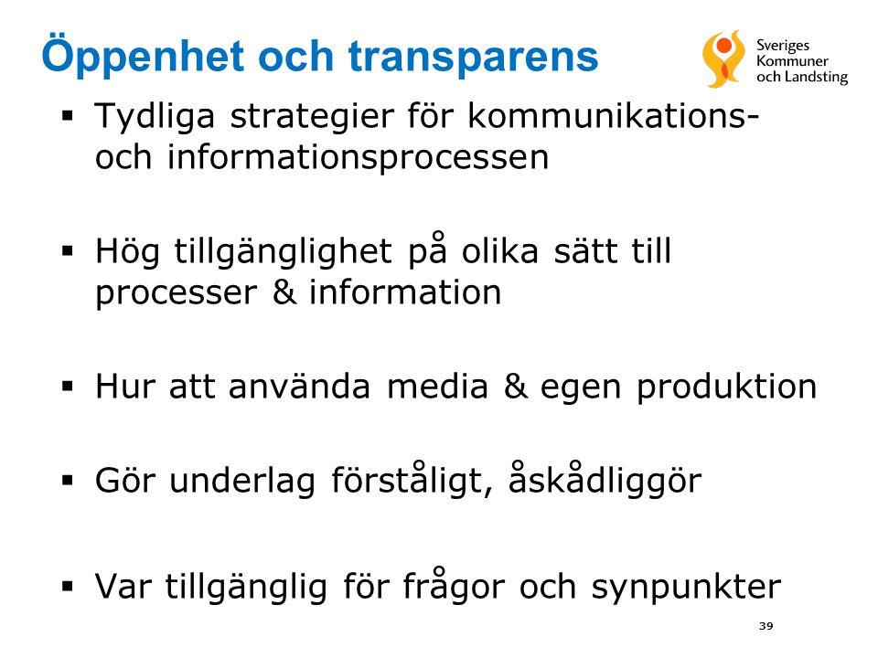 39 Öppenhet och transparens  Tydliga strategier för kommunikations- och informationsprocessen  Hög tillgänglighet på olika sätt till processer & inf