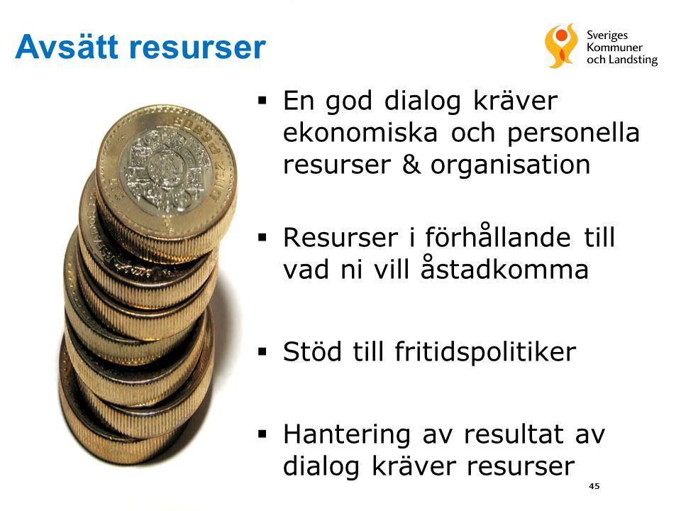  En god dialog kräver ekonomiska och personella resurser & organisation  Resurser i förhållande till vad ni vill åstadkomma  Stöd till fritidspolit