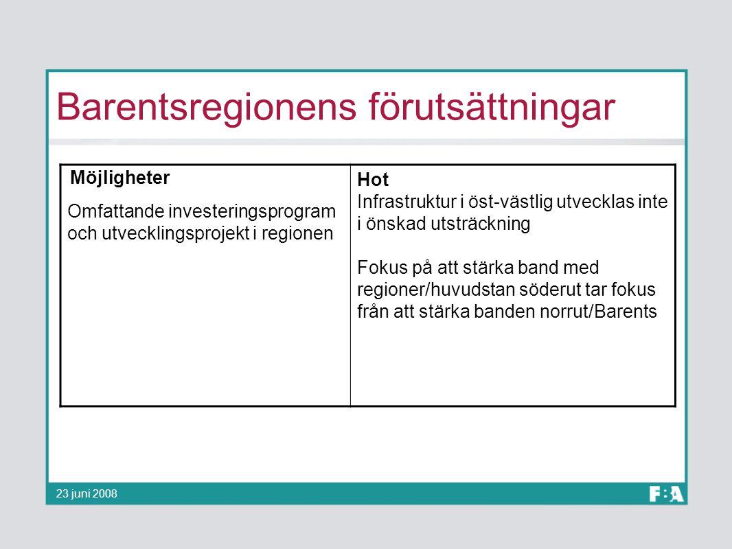 Barentsregionens förutsättningar 23 juni 2008 Möjligheter Omfattande investeringsprogram och utvecklingsprojekt i regionen Hot Infrastruktur i öst-väs