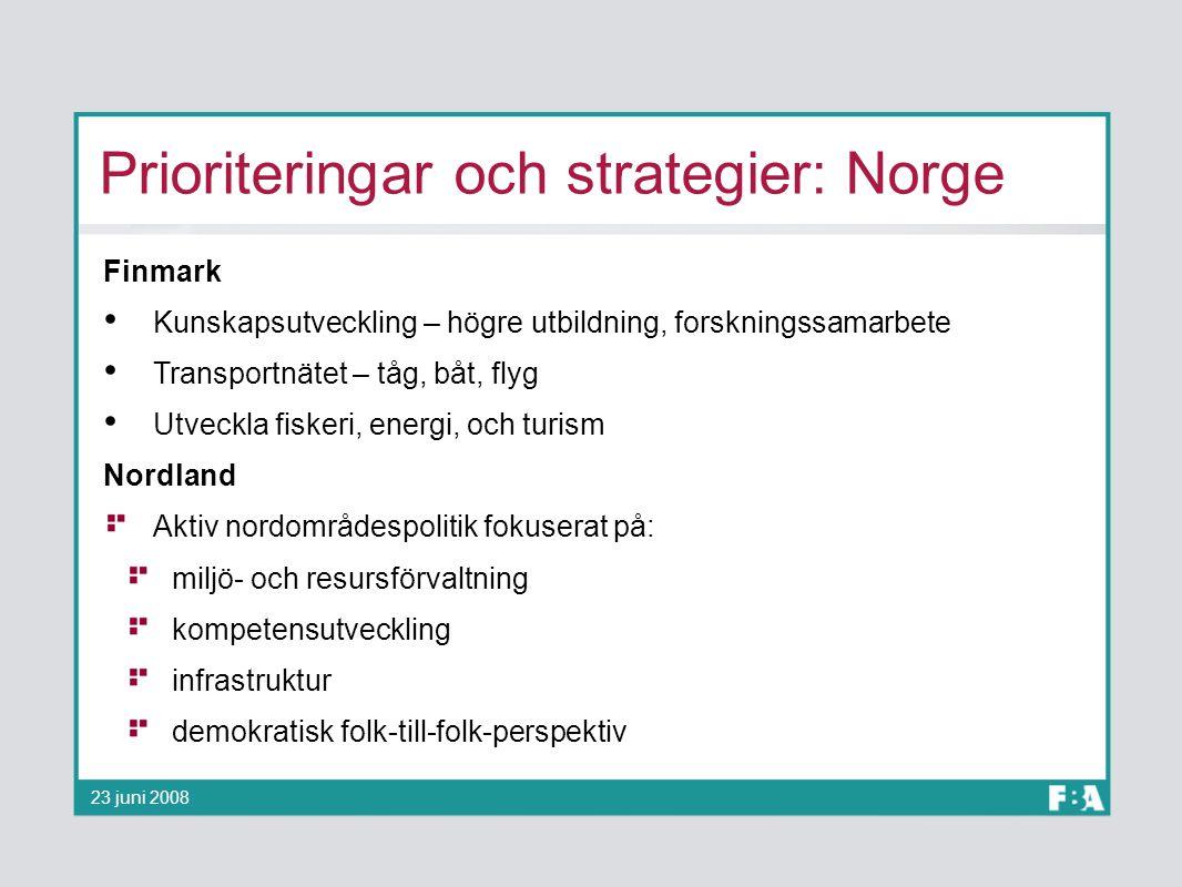 Prioriteringar och strategier: Norge Finmark Kunskapsutveckling – högre utbildning, forskningssamarbete Transportnätet – tåg, båt, flyg Utveckla fiske