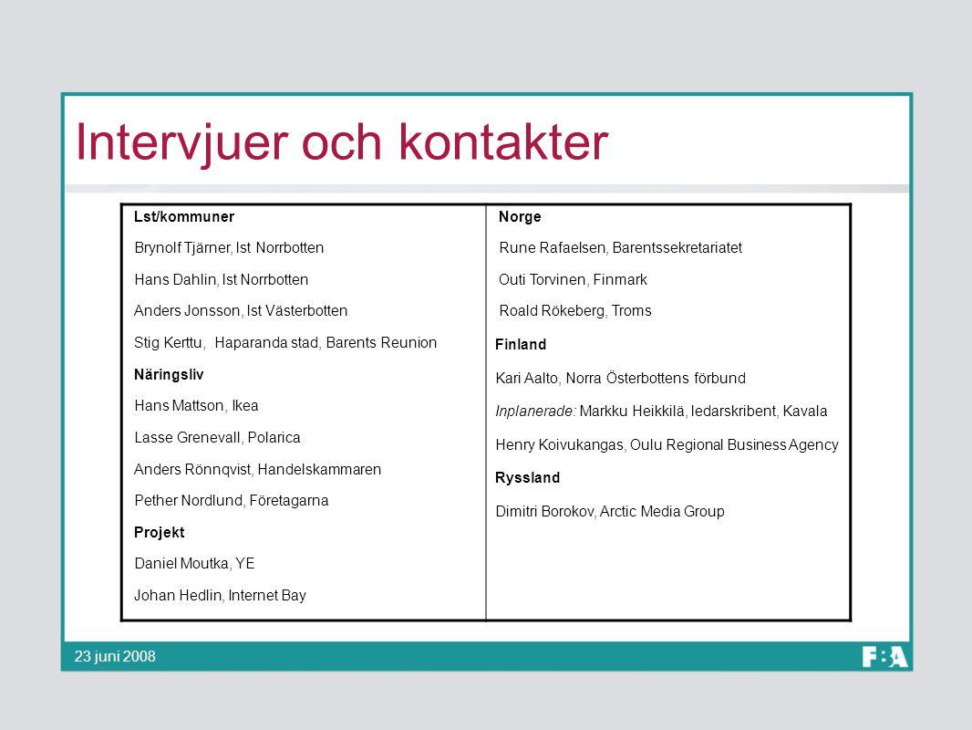 Intervjuer och kontakter 23 juni 2008 Lst/kommuner Brynolf Tjärner, lst Norrbotten Hans Dahlin, lst Norrbotten Anders Jonsson, lst Västerbotten Stig K