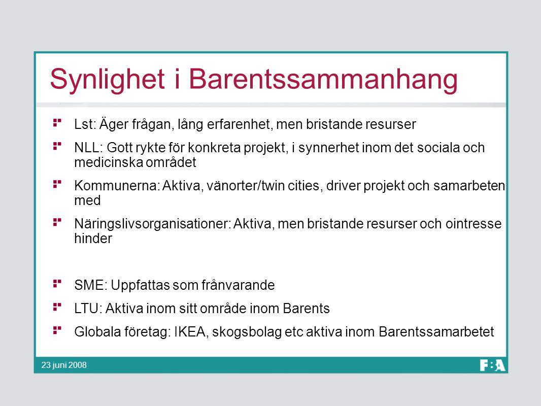 Synlighet i Barentssammanhang Lst: Äger frågan, lång erfarenhet, men bristande resurser NLL: Gott rykte för konkreta projekt, i synnerhet inom det soc
