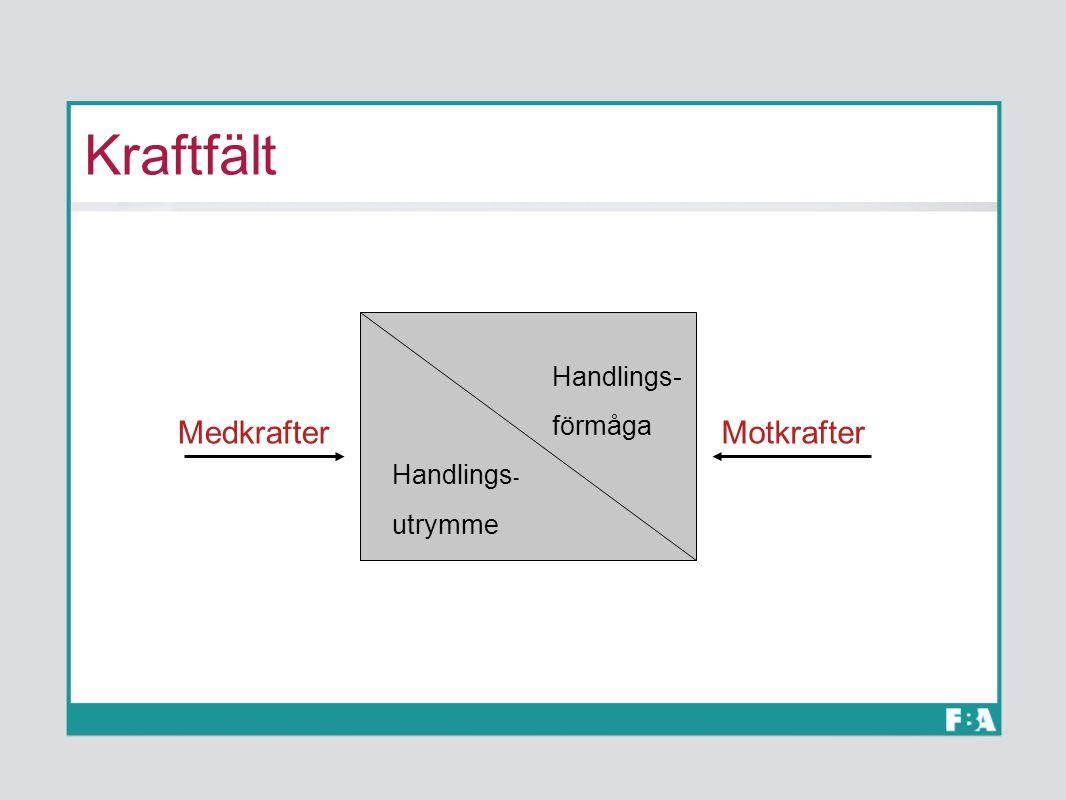 Kraftfält Handlings- förmåga Handlings - utrymme MedkrafterMotkrafter
