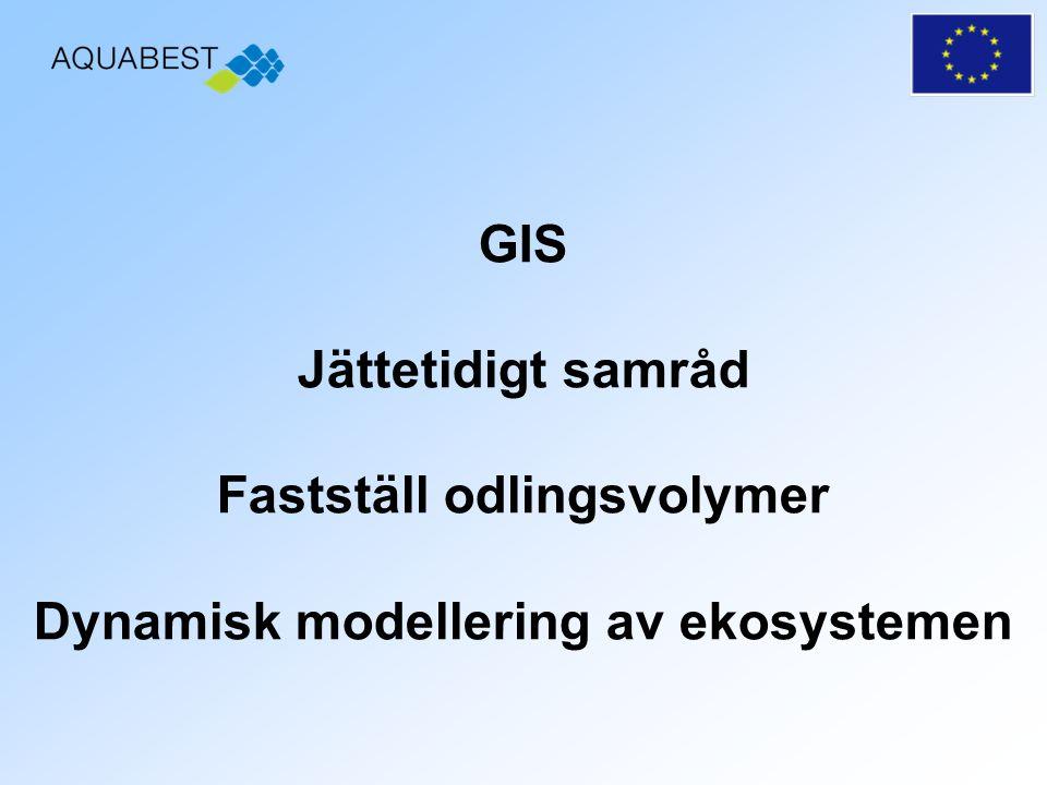 GIS Jättetidigt samråd Fastställ odlingsvolymer Dynamisk modellering av ekosystemen