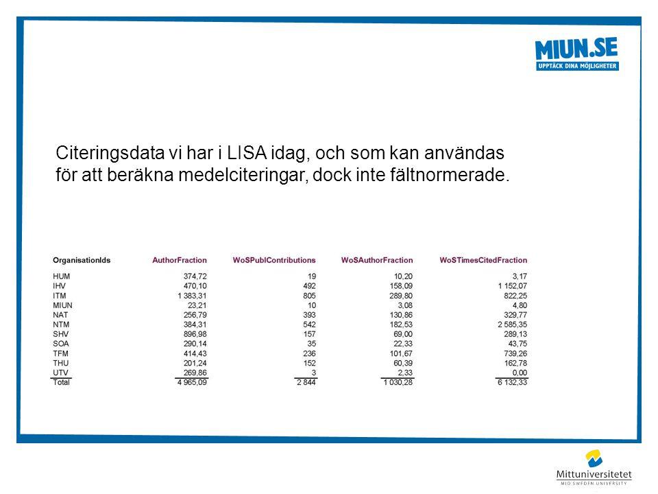 Citeringsdata vi har i LISA idag, och som kan användas för att beräkna medelciteringar, dock inte fältnormerade.
