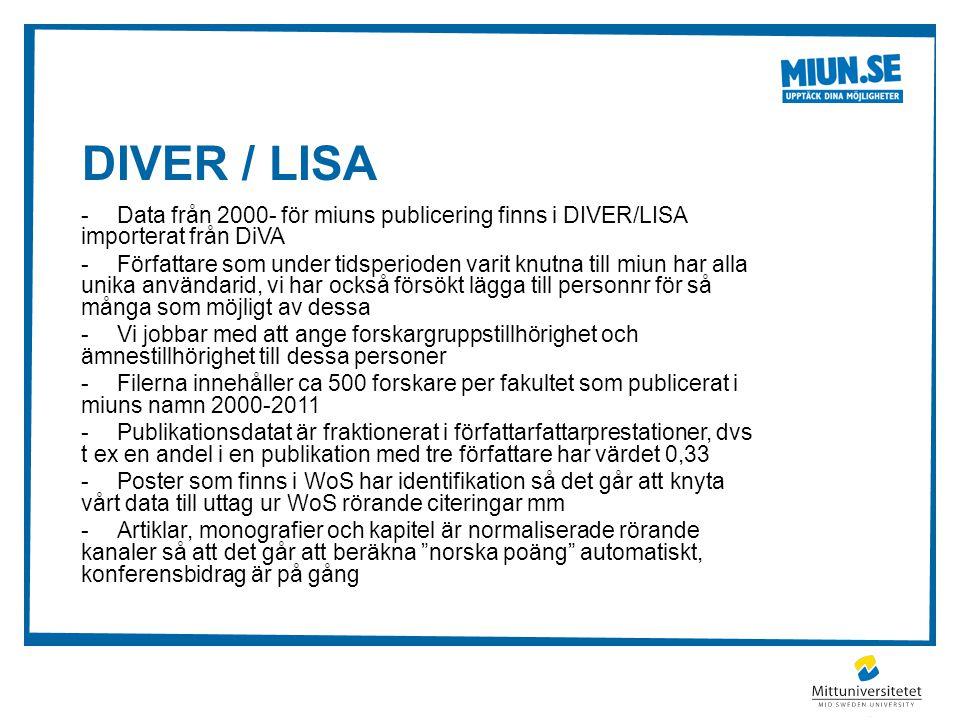 DIVER / LISA -Data från 2000- för miuns publicering finns i DIVER/LISA importerat från DiVA -Författare som under tidsperioden varit knutna till miun har alla unika användarid, vi har också försökt lägga till personnr för så många som möjligt av dessa -Vi jobbar med att ange forskargruppstillhörighet och ämnestillhörighet till dessa personer -Filerna innehåller ca 500 forskare per fakultet som publicerat i miuns namn 2000-2011 -Publikationsdatat är fraktionerat i författarfattarprestationer, dvs t ex en andel i en publikation med tre författare har värdet 0,33 -Poster som finns i WoS har identifikation så det går att knyta vårt data till uttag ur WoS rörande citeringar mm -Artiklar, monografier och kapitel är normaliserade rörande kanaler så att det går att beräkna norska poäng automatiskt, konferensbidrag är på gång