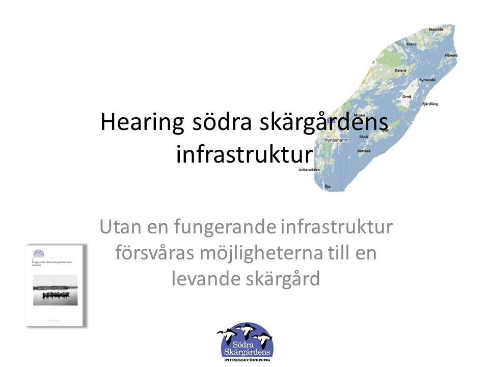 Hearing södra skärgårdens infrastruktur Utan en fungerande infrastruktur försvåras möjligheterna till en levande skärgård