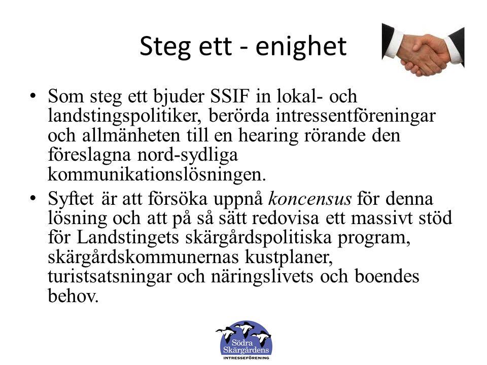 Steg ett - enighet Som steg ett bjuder SSIF in lokal- och landstingspolitiker, berörda intressentföreningar och allmänheten till en hearing rörande den föreslagna nord-sydliga kommunikationslösningen.