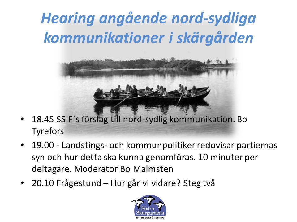 Hearing angående nord-sydliga kommunikationer i skärgården 18.45 SSIF´s förslag till nord-sydlig kommunikation. Bo Tyrefors 19.00 - Landstings- och ko