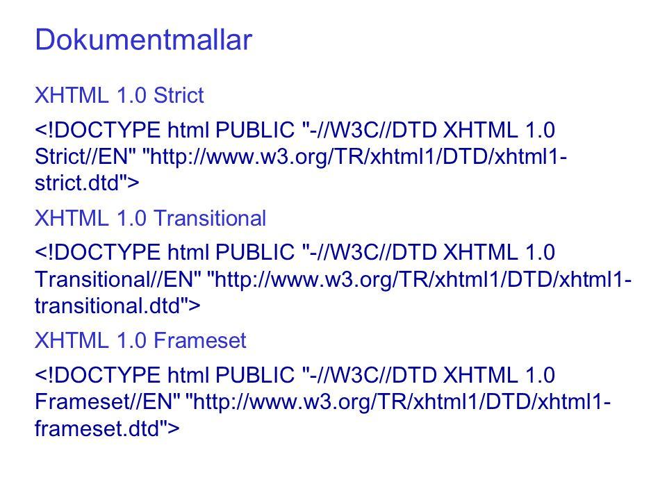 XHTML 1.0 Strict XHTML 1.0 Transitional XHTML 1.0 Frameset Dokumentmallar