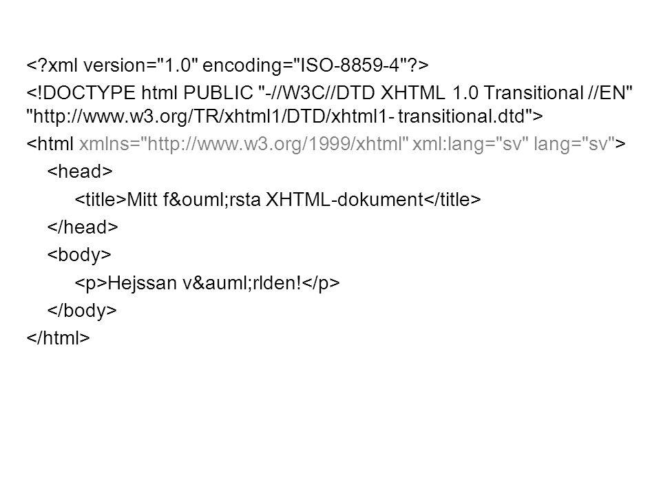 Mitt första XHTML-dokument Hejssan världen!