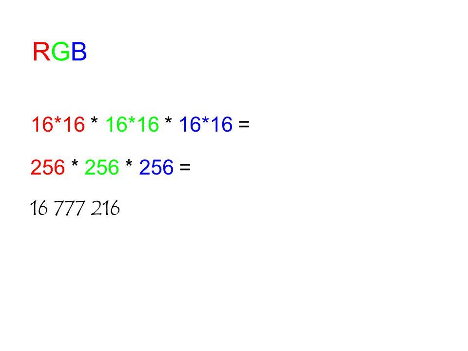 RGBRGB 16*16 * 16*16 * 16*16 = 256 * 256 * 256 = 16 777 216