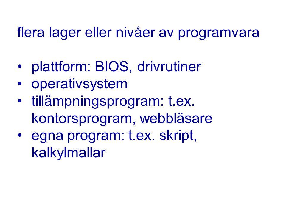 flera lager eller nivåer av programvara plattform: BIOS, drivrutiner operativsystem tillämpningsprogram: t.ex.